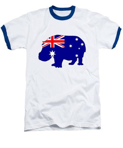 Australian Flag - Hippopotamus Baseball T-Shirt by Mordax Furittus