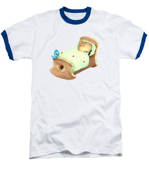 Baby Teddy Sweet Dreams Baseball T-Shirt by Linda Lindall