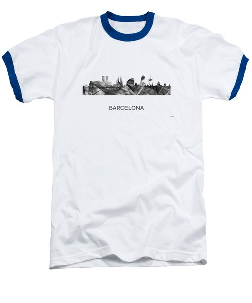 Barcelona Spain Skyline Baseball T-Shirt by Marlene Watson