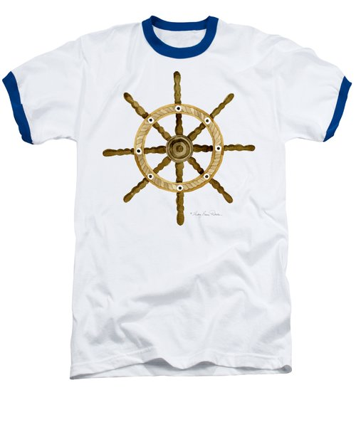 Beach House Nautical Boat Ship Anchor Vintage Baseball T-Shirt by Audrey Jeanne Roberts