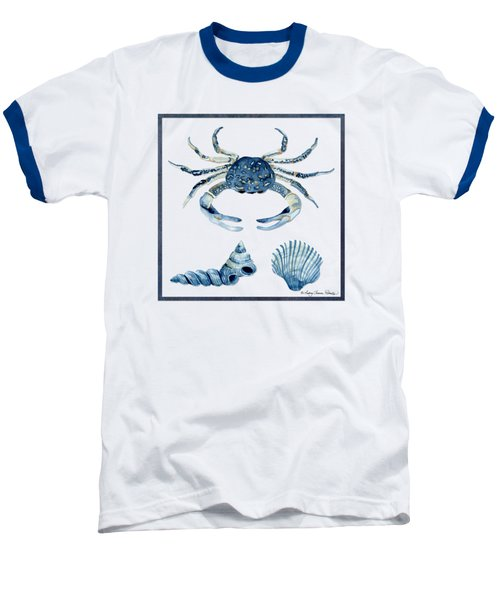 Beach House Sea Life Crab Turban Shell N Scallop Baseball T-Shirt by Audrey Jeanne Roberts