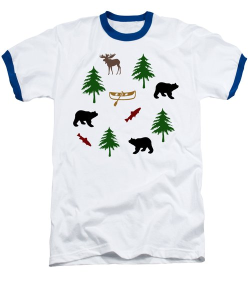 Bear Moose Pattern Baseball T-Shirt by Christina Rollo