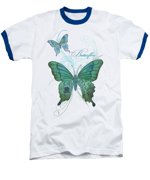 Beautiful Butterflies N Swirls Modern Style Baseball T-Shirt by Audrey Jeanne Roberts