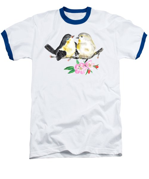 Birds And Apple Blossom Baseball T-Shirt by Color Color