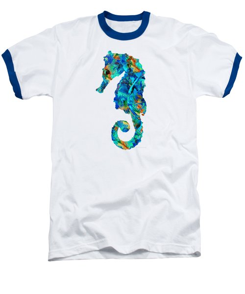 Blue Seahorse Art By Sharon Cummings Baseball T-Shirt by Sharon Cummings