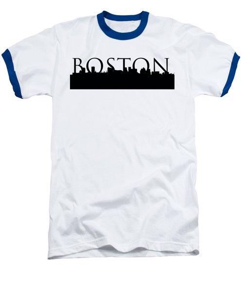 Boston Skyline Outline With Logo Baseball T-Shirt by Joann Vitali