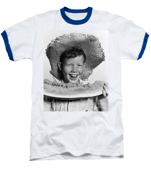 Boy Eating Watermelon, C.1940-50s Baseball T-Shirt by H. Armstrong Roberts/ClassicStock