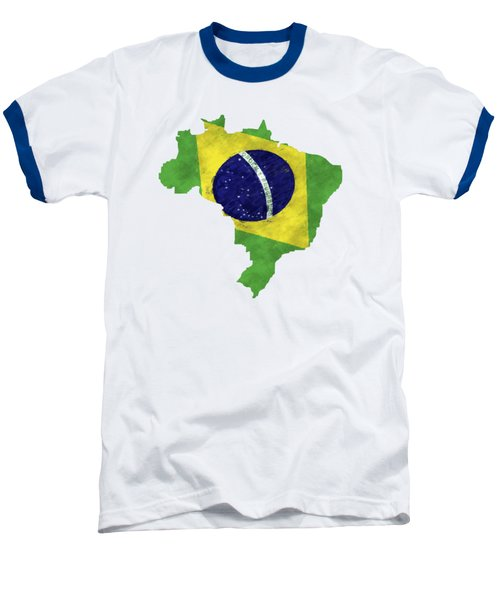 Brazil Map Art With Flag Design Baseball T-Shirt by World Art Prints And Designs