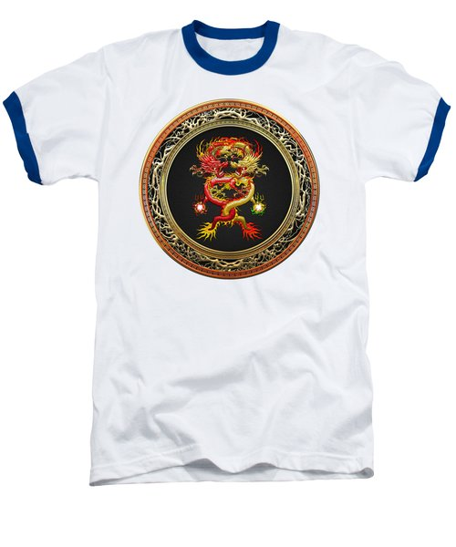 Brotherhood Of The Snake - The Red And The Yellow Dragons On White Leather Baseball T-Shirt by Serge Averbukh