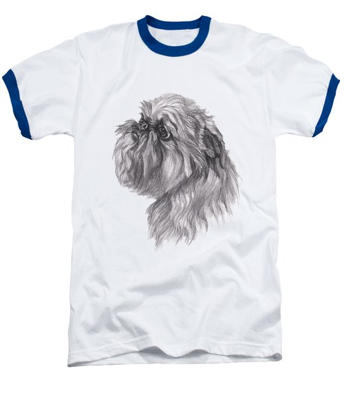 Brussels Griffon Dog Portrait  Drawing Baseball T-Shirt by I Am Lalanny