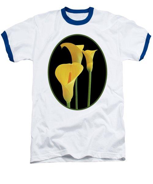 Calla Lilies - Yellow On Black Baseball T-Shirt by Gill Billington