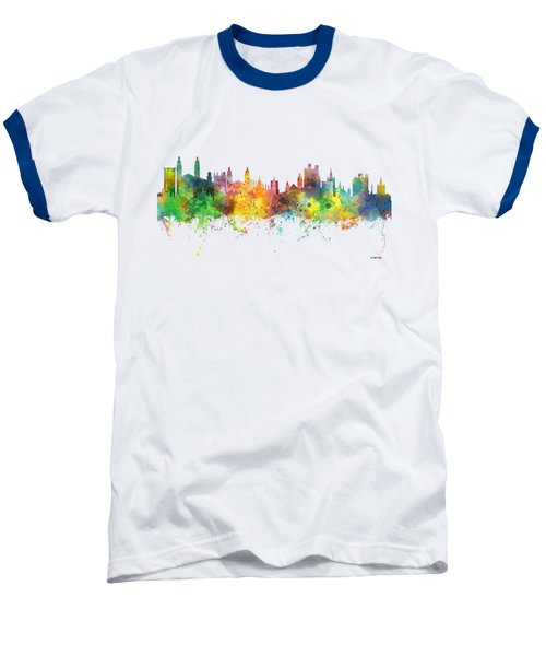 Cambridge England Skyline Baseball T-Shirt by Marlene Watson