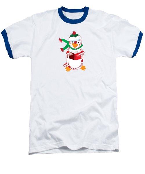 Candy Cane Penguin Baseball T-Shirt by Jane E Rankin