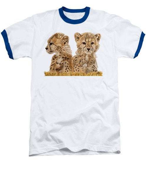Cheetah Cubs Baseball T-Shirt by Angeles M Pomata
