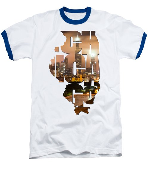 Chicago Illinois Typography - Chicago Skyline From The Rooftop Baseball T-Shirt by Gregory Ballos