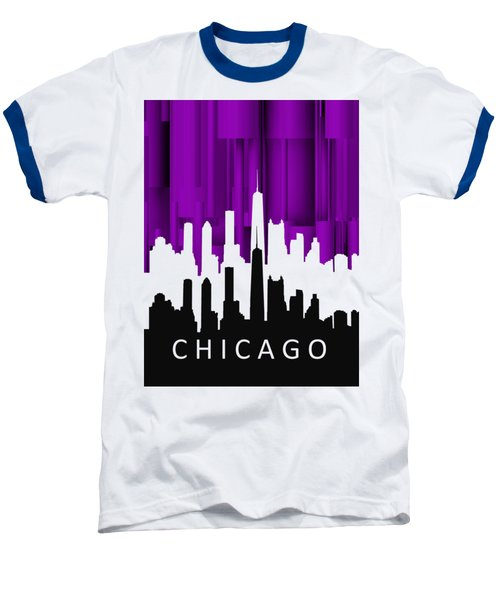 Chicago Violet In Negative Baseball T-Shirt by Alberto RuiZ