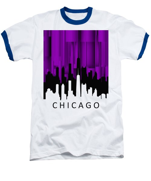Chicago Violet Vertical  Baseball T-Shirt by Alberto RuiZ