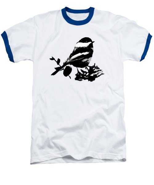 Chickadee Bird Pattern Baseball T-Shirt by Christina Rollo