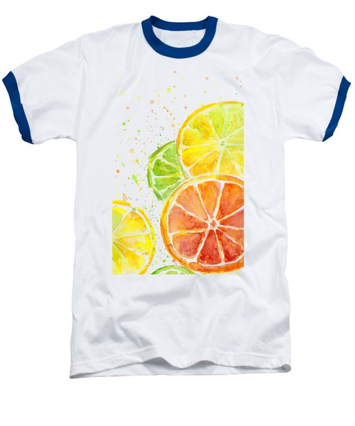 Citrus Fruit Watercolor Baseball T-Shirt by Olga Shvartsur
