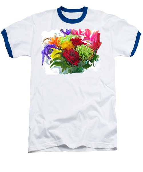 Colorful Bouquet Baseball T-Shirt by Kathy Moll