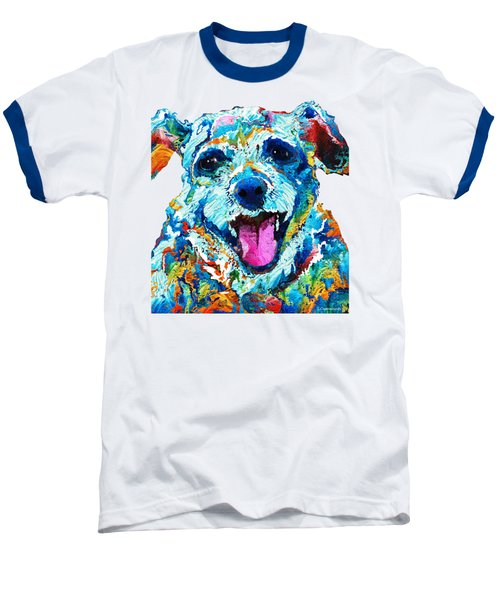 Colorful Dog Art - Smile - By Sharon Cummings Baseball T-Shirt by Sharon Cummings
