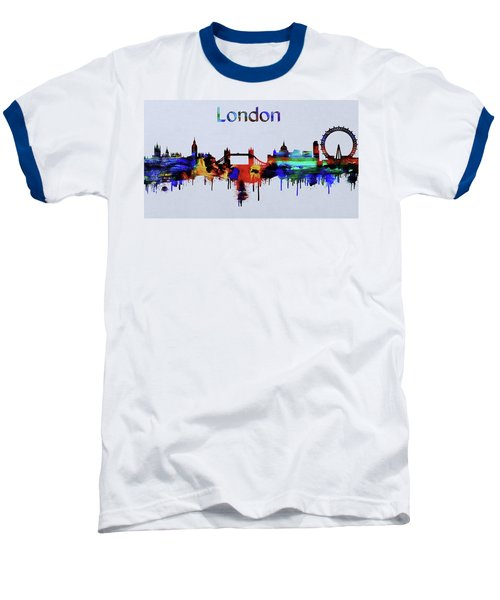 Colorful London Skyline Silhouette Baseball T-Shirt by Dan Sproul