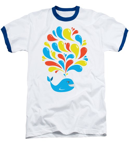 Colorful Swirls Happy Cartoon Whale Baseball T-Shirt by Boriana Giormova