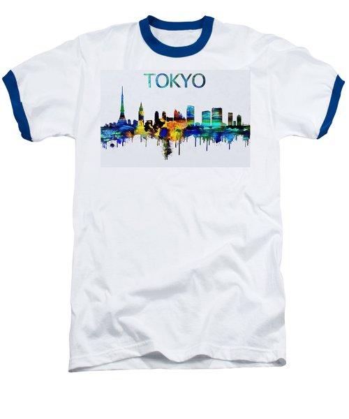 Colorful Tokyo Skyline Silhouette Baseball T-Shirt by Dan Sproul