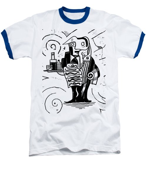 Cubist Waiter Baseball T-Shirt by Erki Schotter