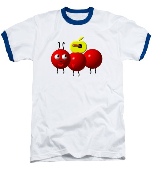 Cute Ant With An Apple Baseball T-Shirt by Rose Santuci-Sofranko