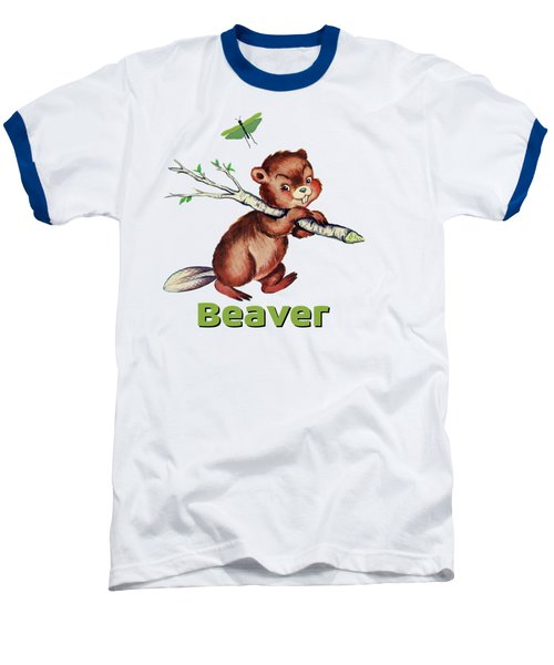 Cute Baby Beaver Pattern Baseball T-Shirt by Tina Lavoie
