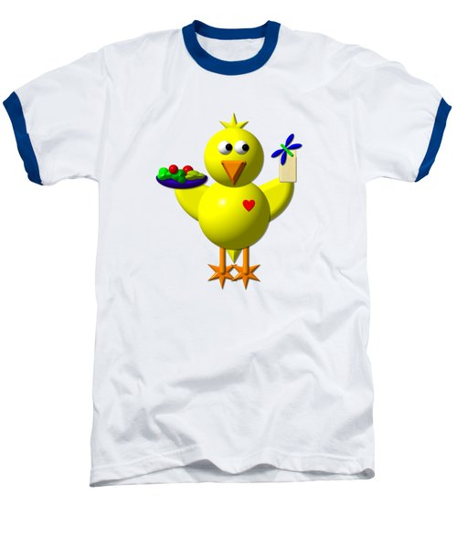 Cute Canary With Salad And Milk Baseball T-Shirt by Rose Santuci-Sofranko