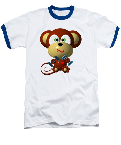 Cute Monkey Lifting Weights Baseball T-Shirt by Rose Santuci-Sofranko