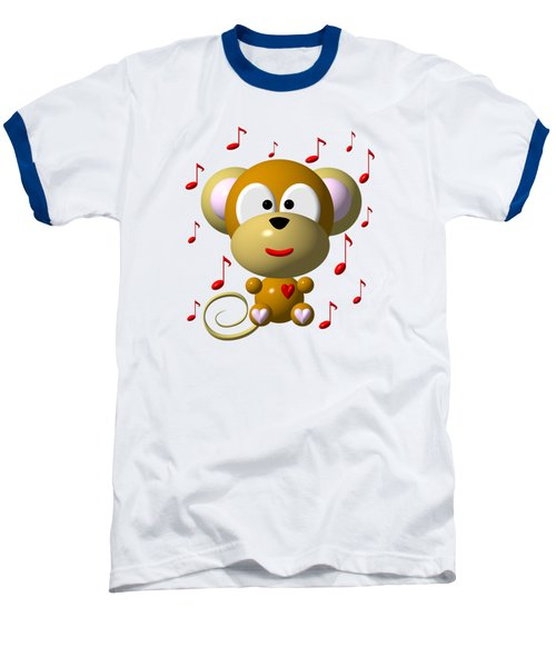 Cute Musical Monkey Baseball T-Shirt by Rose Santuci-Sofranko