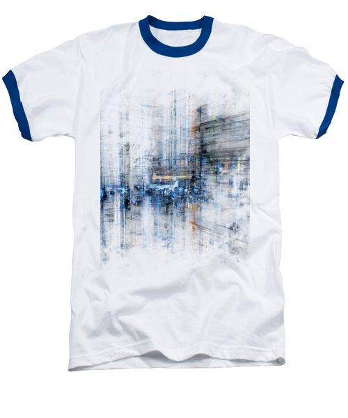 Cyber City Design Baseball T-Shirt by Martin Capek
