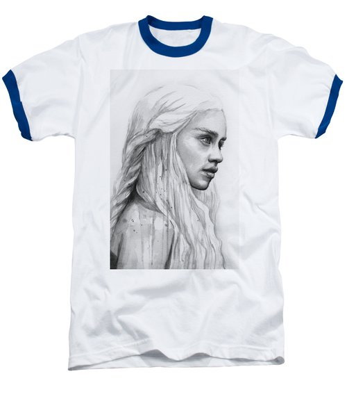 Daenerys Watercolor Portrait Baseball T-Shirt by Olga Shvartsur