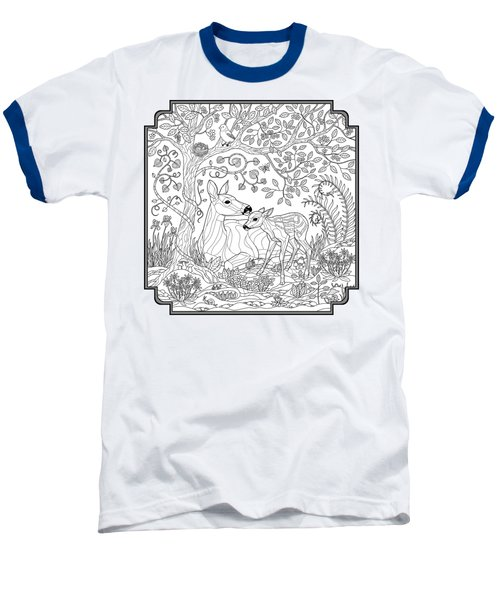 Deer Fantasy Forest Coloring Page Baseball T-Shirt by Crista Forest