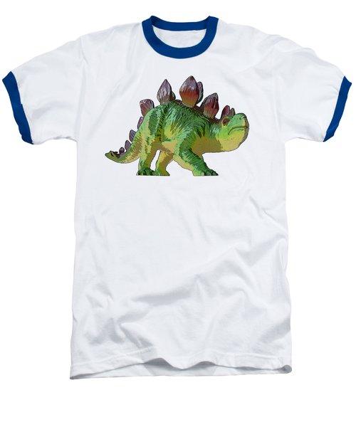 Dino Stegosaurus Baseball T-Shirt by Miroslav Nemecek