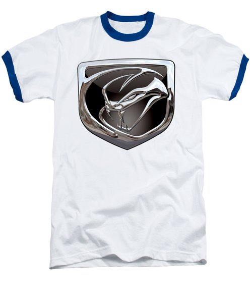 Dodge Viper 3 D  Badge Special Edition On White Baseball T-Shirt by Serge Averbukh