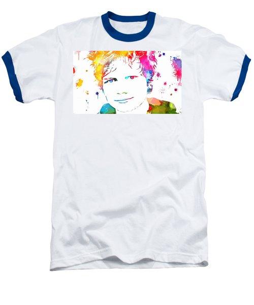 Ed Sheeran Paint Splatter Baseball T-Shirt by Dan Sproul