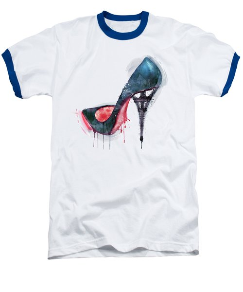 Eiffel Tower Shoe Baseball T-Shirt by Marian Voicu