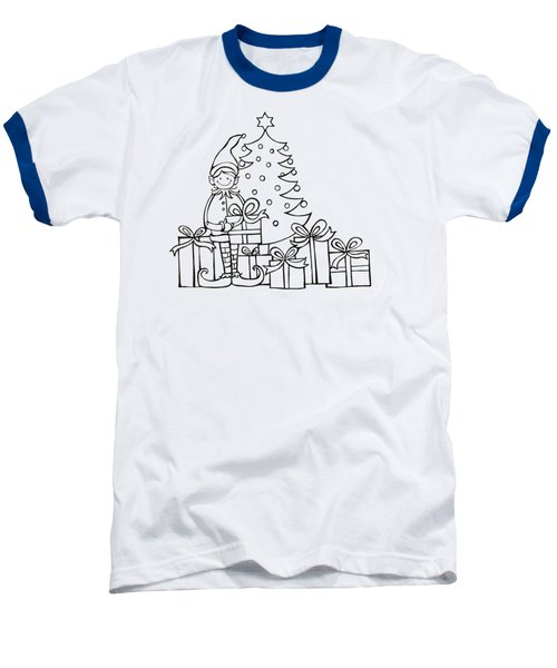 Elf And Presents  Baseball T-Shirt by Mantra Y