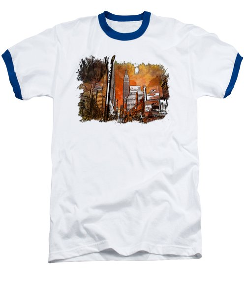 Empire State Reflections Earthy Rainbow 3 Dimensional Baseball T-Shirt by Di Designs