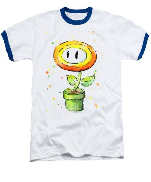 Fireflower Watercolor Baseball T-Shirt by Olga Shvartsur