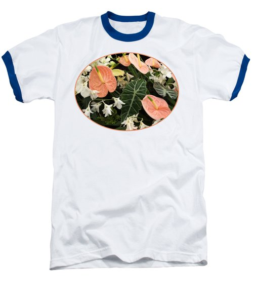 Flamingo Flowers And Orchids Baseball T-Shirt by Gill Billington