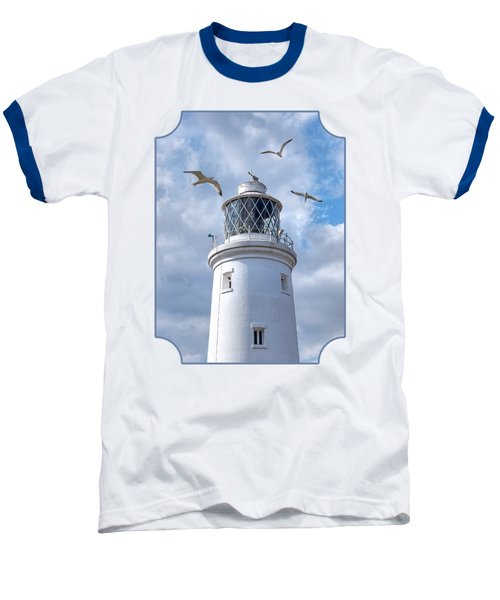 Fly Past - Seagulls Round Southwold Lighthouse Baseball T-Shirt by Gill Billington