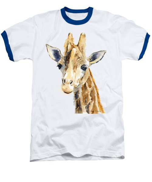 Giraffe Watercolor Baseball T-Shirt by Melly Terpening