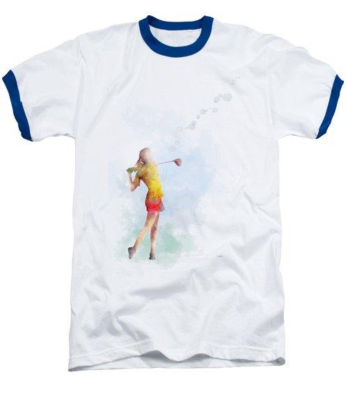 Golfer Baseball T-Shirt by Marlene Watson