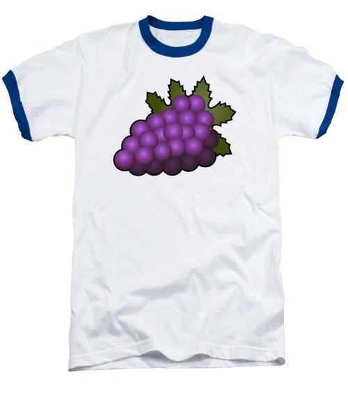 Grapes Fruit Outlined Baseball T-Shirt by Miroslav Nemecek