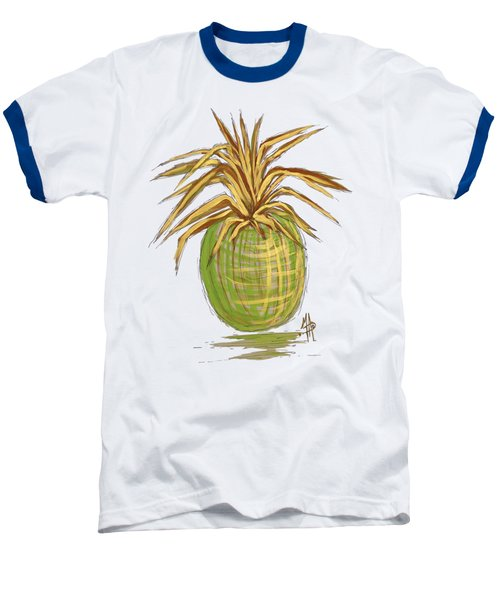 Green Gold Pineapple Painting Illustration Aroon Melane 2015 Collection By Madart Baseball T-Shirt by Megan Duncanson